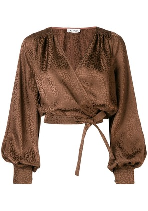 Attico cropped wrap front blouse - Brown