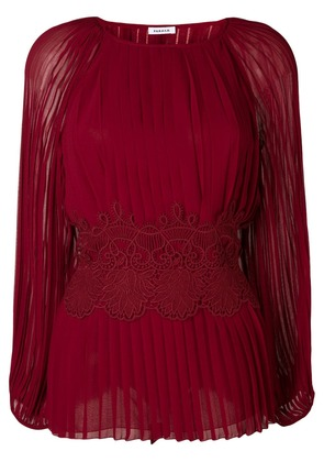 P.A.R.O.S.H. lace bodice pleated top - Red