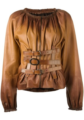 Tom Ford buckle detailing zipped shirt - Brown