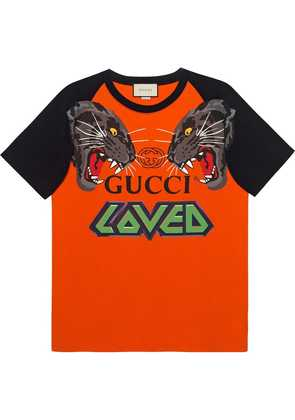 Gucci Oversize t-shirt with tigers - Orange