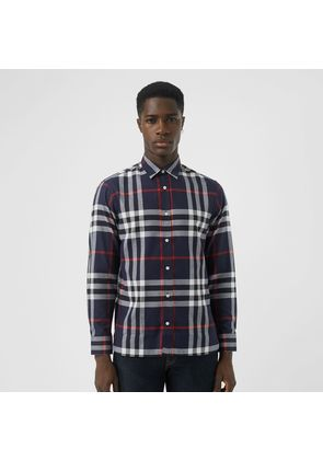 Burberry Check Cotton Flannel Shirt, Blue