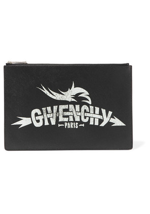 Givenchy - Printed Faux Textured-leather Pouch - Black