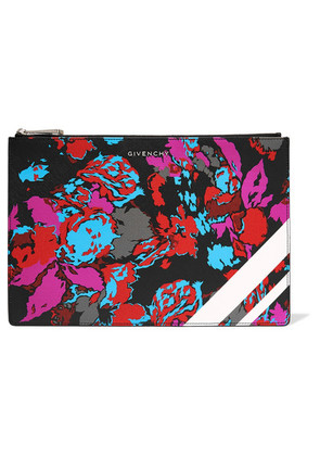 Givenchy - Floral-print Faux Textured-leather Pouch - Pink