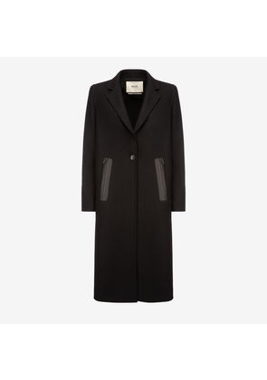Bally Single Breasted Long Coat Black, Women's wool coat in black