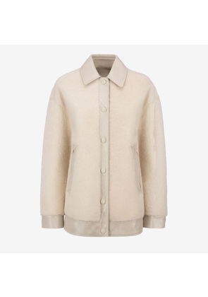 Bally Painted Shearling Bomber Jacket White, Women's shearling bomber jacket in bone