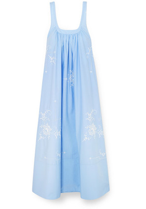 Stella McCartney - Oversized Embroidered Cotton-poplin Maxi Dress - Blue