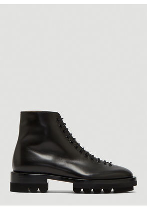 Jil Sander Leather Lace-Up Ankle Boots in Black size EU - 40