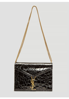Saint Laurent Cassandra Slider Chain Turtle-Embossed Leather Bag in Black size One Size