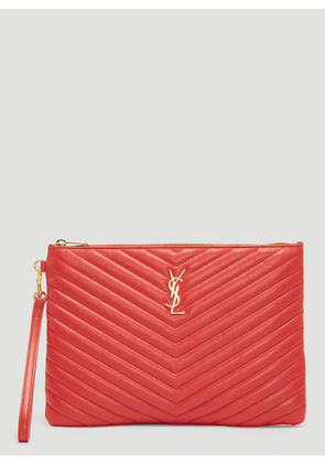Saint Laurent Monogram Tablet Pouch in Red size One Size