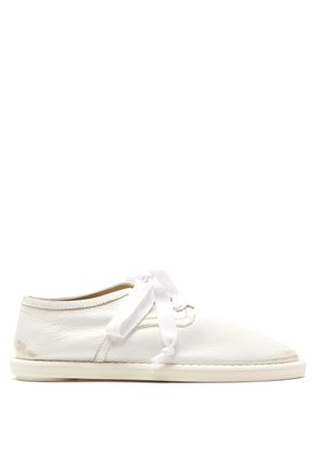 Mm6 Maison Margiela - Distressed Leather Trainers - Womens - White