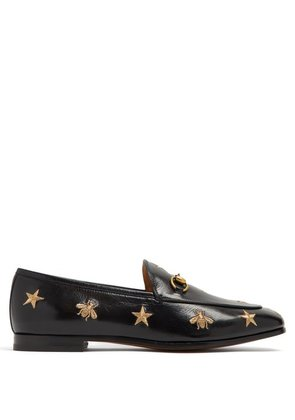 Gucci - Jordaan Embroidered Leather Loafers - Womens - Black Gold
