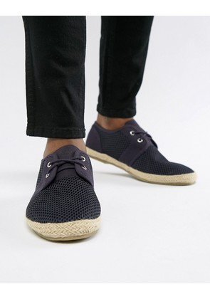 Brave Soul Wide Fit Lace Up Espadrilles In Navy - Blue