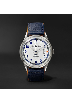 Bell & Ross - Br V1-92 Racing Bird Limited Edition Automatic 38.5mm Stainless Steel And Leather Watch - White