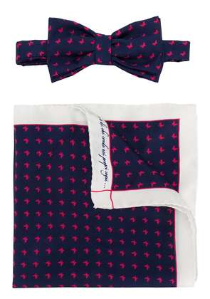 Fefè butterfly print bow tie set - Blue