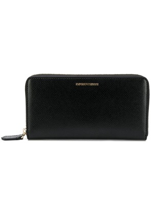 Emporio Armani zip-around logo wallet - Black