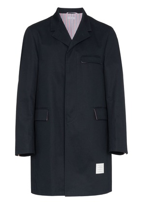 Thom Browne unconstructed cotton overcoat - Blue