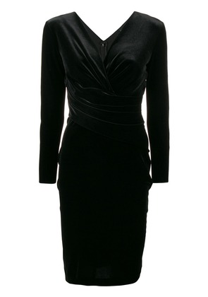 Emporio Armani fitted V-neck dress - Black