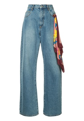 MSGM scarf detail jeans - Blue