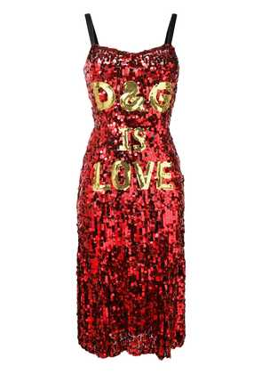 Dolce & Gabbana 'D & G is love' sequin dress - Red