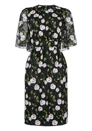 Giambattista Valli floral print cape effect midi dress - Black