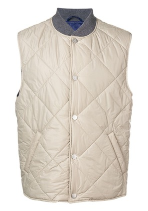 Eleventy press stud quilted gilet - Neutrals