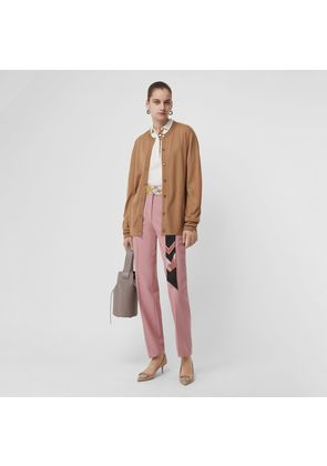 Burberry Straight Fit Wool Blend Tailored Trousers, Pink