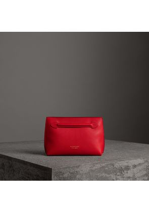 Burberry Grainy Leather Wristlet Clutch, Red