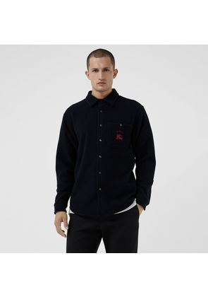 Burberry Embroidered Archive Logo Wool Cashmere Overshirt, Blue