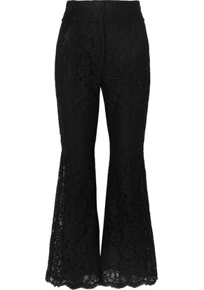 Dolce & Gabbana - Cropped Guipure Lace Flared Pants - Black