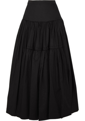 Molly Goddard - Liberty Tiered Cotton-twill Maxi Skirt - Black