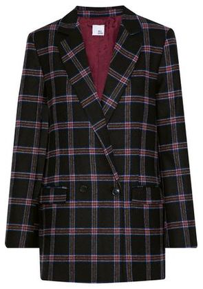 Iris & Ink Woman Kristin Double-breasted Checked Wool-blend Blazer Black Size 12