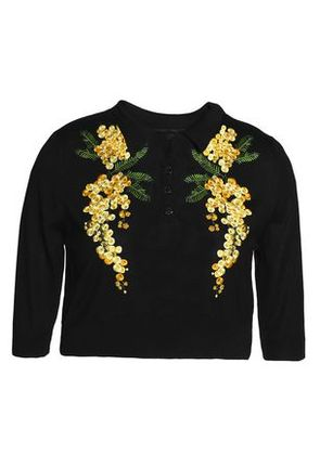 Dolce & Gabbana Woman Cropped Embroidered Silk-blend Sweater Black Size 42