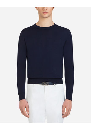 Dolce & Gabbana Knitwear - WOOL CREW NECK SWEATER WITH INTARSIA LOGO BLUE