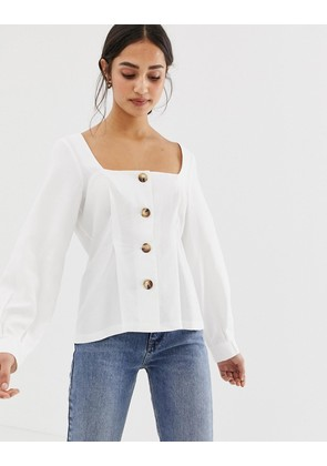ASOS DESIGN square neck button through top with pleat detail - Ivory