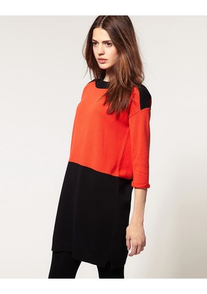 ASOS Knitted Dress In Colour Block - Blue/black