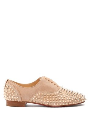 Christian Louboutin - Freddy Studded Lamé Loafers - Womens - Nude Gold