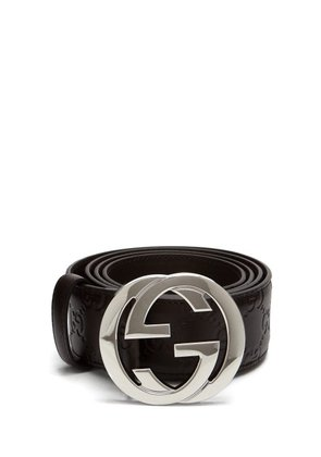 Gucci - Gg Plaque Leather Belt - Mens - Brown
