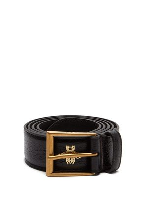 Gucci - Star And Bee Hot Stamped Leather Belt - Mens - Black Multi