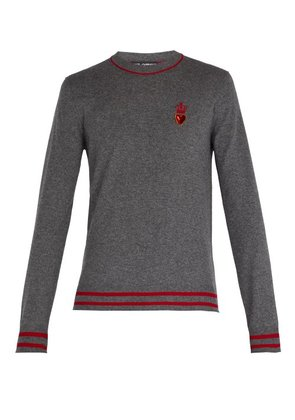 Dolce & Gabbana - Heart And Crown Cashmere And Wool Blend Sweater - Mens - Grey