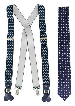 Fefè floral braces and tie set - Blue