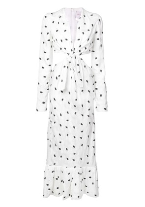 Carolina Herrera tie front cut-out side dress - White