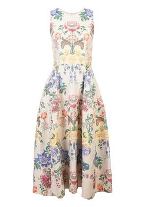 Carolina Herrera floral print mid dress - Neutrals