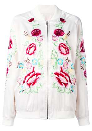 P.A.R.O.S.H. rose embroidered bomber jacket - White