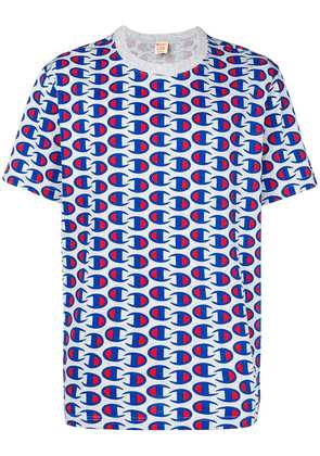 Champion all-over logo print T-shirt - Blue