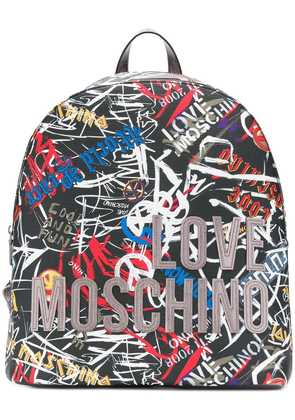 Love Moschino graffiti print backpack - Black