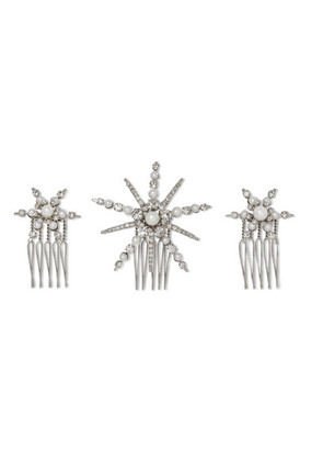 LELET NY - Starlet Silver-plated, Swarovski Crystal And Faux Pearl Hair Slides - one size