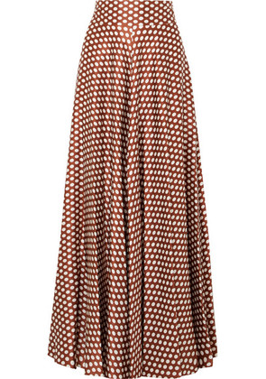 Diane von Furstenberg - Polka-dot Silk-satin Maxi Skirt - Brown