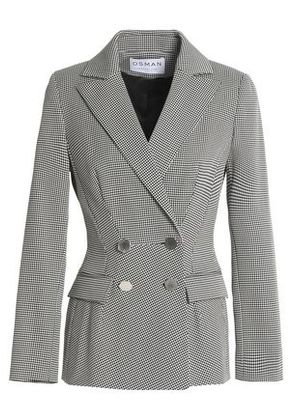 Osman Woman Double-breasted Houndstooth Cotton-blend Blazer Black Size 8