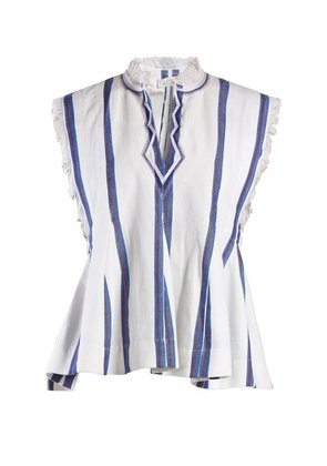 Isabel Marant étoile - Drappy Sleeveless Striped Top - Womens - Blue Stripe