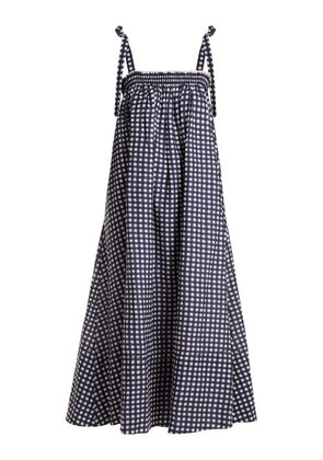 Loup Charmant - Bastille Square Neck Gingham Cotton Dress - Womens - Navy White